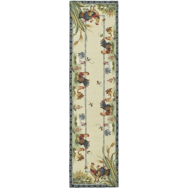 Safavieh Hand-hooked Roosters Ivory Wool Runner (2'6 X 8
