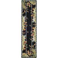 Safavieh Hand-hooked Roosters Black Wool Runner - 2'6 x 6'