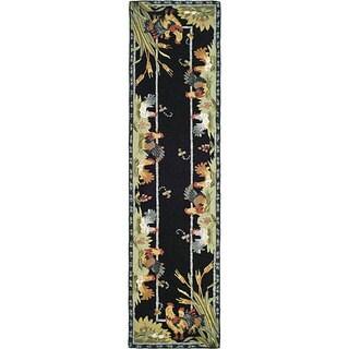 Safavieh Hand-hooked Roosters Black Wool Runner (2'6 x 6')