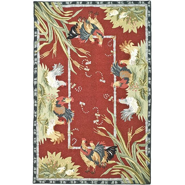 Safavieh Hand-hooked Roosters Burgundy Wool Rug (5'3 X 8'3