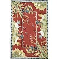 """Safavieh Hand-hooked Roosters Burgundy Wool Rug - 5'3"""" x 8'3"""""""