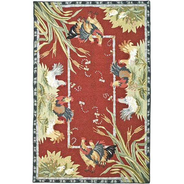 Safavieh Hand-hooked Roosters Burgundy Wool Rug - 7'9 x 9'9