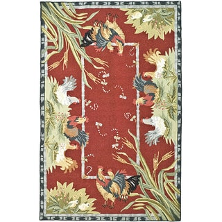 Safavieh Hand-hooked Roosters Burgundy Wool Rug (8'9 x 11'9)