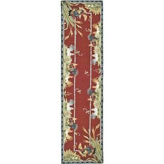 Safavieh Hand-hooked Roosters Burgundy Wool Rug (2'6 x 12')