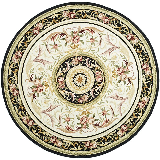 Safavieh Hand-hooked Aubusson Ivory/ Burgundy Wool Rug (8...