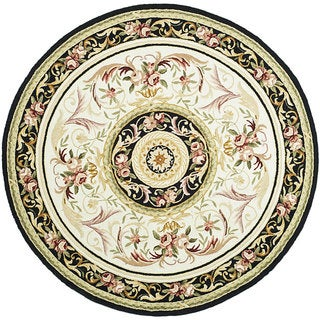 Safavieh Hand-hooked Aubusson Ivory/ Burgundy Wool Rug (8' Round)