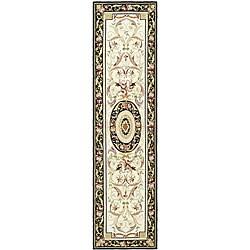 Safavieh Hand-hooked Aubusson Ivory/ Black Wool Runner (2'6 x 12')