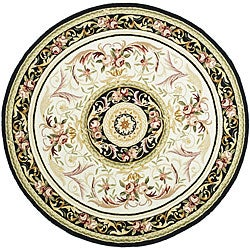 Safavieh Hand-hooked Aubusson Ivory/ Black Wool Rug (8' Round)