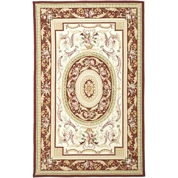 Safavieh Hand-hooked Aubusson Ivory/ Burgundy Wool Rug - 5'3 x 8'3