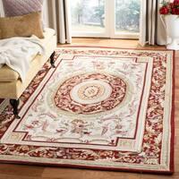 Safavieh Aubusson Ivory/ Burgundy Hand-hooked Wool Area Rug - 6' x 9'