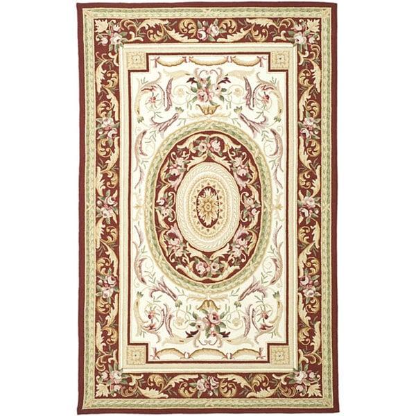 Safavieh Aubusson Ivory/ Burgundy Hand-hooked Wool Area Rug (6' x 9')