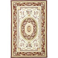Safavieh Hand-hooked Aubusson Ivory/ Burgundy Wool Rug (7'9 x 9'9)