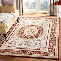 "Safavieh Hand-hooked Aubusson Ivory/ Burgundy Wool Rug - 7'9"" x 9'9"""