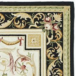 Safavieh Hand-hooked Aubusson Ivory/ Black Wool Rug (7'9 x 9'9) - Thumbnail 1