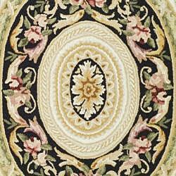 Safavieh Hand-hooked Aubusson Ivory/ Black Wool Rug (7'9 x 9'9) - Thumbnail 2