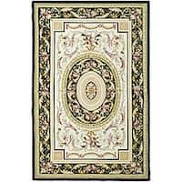 Safavieh Hand-hooked Aubusson Ivory/ Black Wool Rug (7'9 x 9'9)