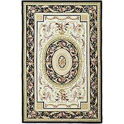 Safavieh Hand-hooked Aubusson Ivory/ Black Wool Rug (8'9 x 11'9)