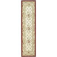 Safavieh Hand-hooked Aubusson Ivory/ Burgundy Wool Runner Rug - 2'6 x 8'