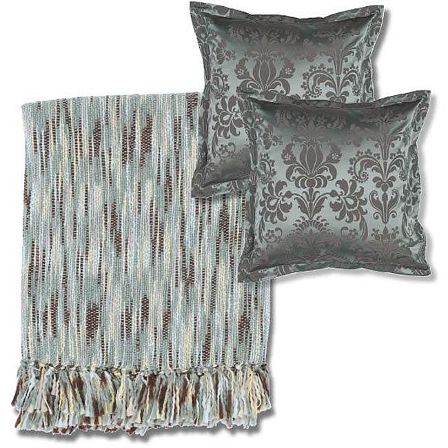 Blue/Beige Throw Blanket and Square Decorative Pillows
