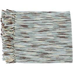 Blue/Beige Throw Blanket and Square Decorative Pillows - Thumbnail 1