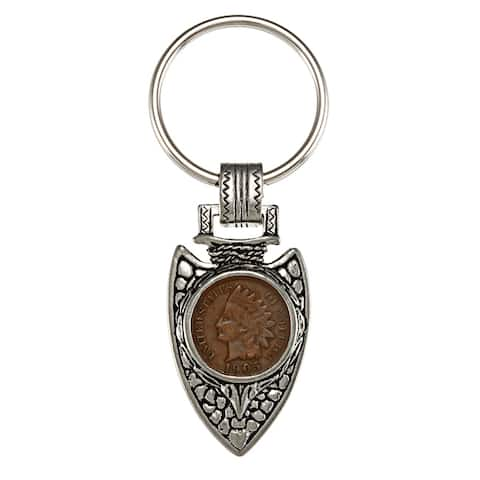 American Coin Treasures Indian Cent Silvertone Arrowhead Keyring