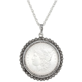American Coin Treasures Morgan Silver Dollar Silvertone Necklace