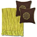 Citrus/ Ivory Throw Blanket and Chocolate Decorative Pillows