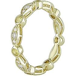 Miadora 10k Gold Yellow Sapphire and 1/4ct TDW Diamond Ring (H-I, I2-I3) - Thumbnail 1