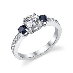 14k Gold 5/8ct TDW Diamond and Sapphire Ring (I, I1)