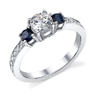 14k Gold 7/8ct TDW Diamond and Sapphire Ring (I, I1)