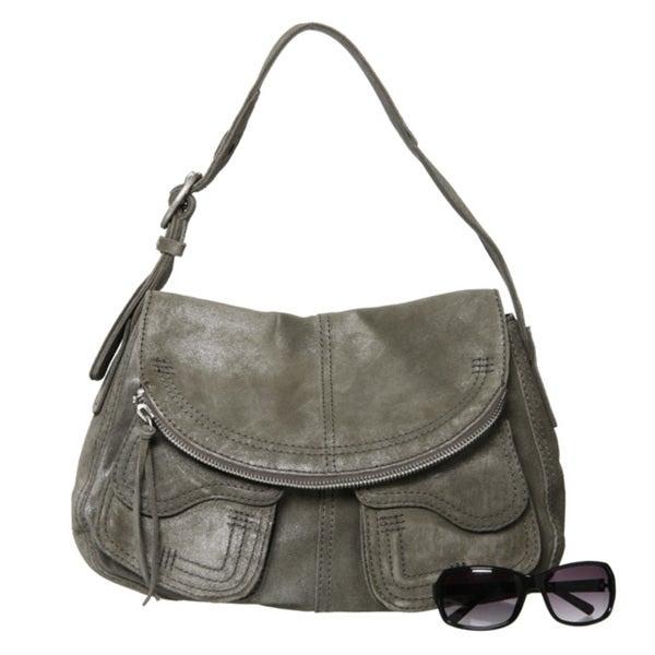 Lucky Brand Hazy Grey Suede Hobo Style Bag