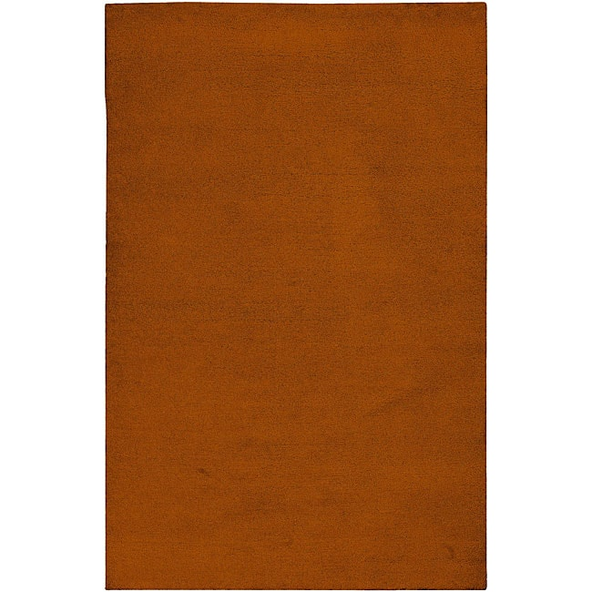 Hand-knotted Long Island Orange Plush Wool Area Rug (5' x 8')
