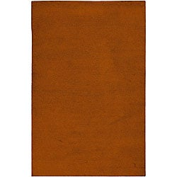 Hand-knotted Long Island Orange Plush Wool Area Rug (5' x 8') - Thumbnail 0