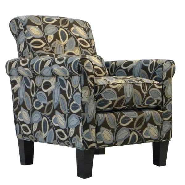 Portfolio Hyde Brown Modern Leaf Transitional Arm Chair - Blue. Opens flyout.
