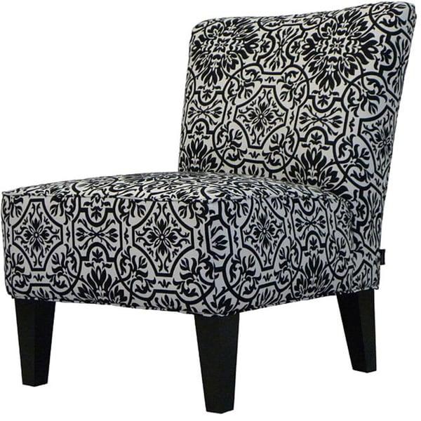 Handy Living Davis Armless Chair Modern Damask Black and White