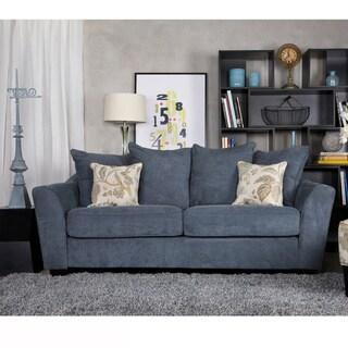 Handy Living Cooper Twill Blue Stone Pillow-back Sofa