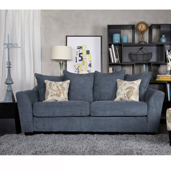 Handy Living Cooper Twill Blue Stone Pillow-back Sofa