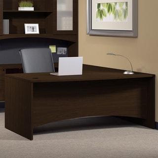 Mayline Brighton 72-inch Bow-front Mocha Desk Shell