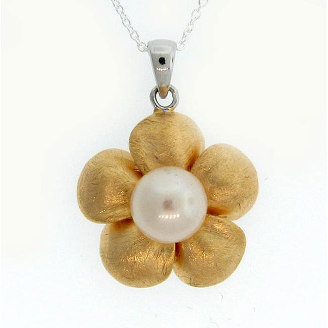 Meredith Leigh Two-tone Silver Pearl Flower Necklace (9.5 mm)
