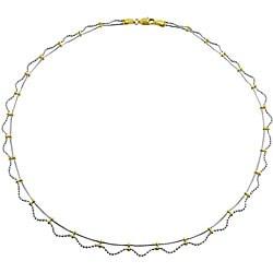 Fremada Elegant 10k Gold Two-tone Lacy Style Necklace