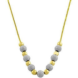 Fremada 14k Two-tone Gold Sparkle Bead Necklace