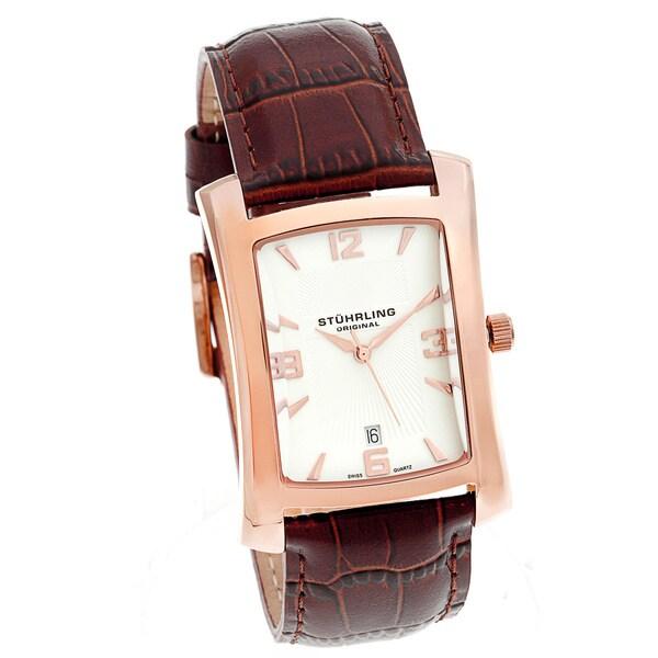 Stuhrling Original Men's Gatsby Classic Brown-Strap Swiss Quartz Watch