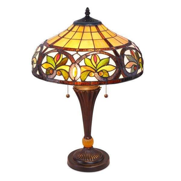 Tiffany Style Sunrise Copper Finish Table Lamp