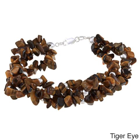 Glitzy Rocks Sterling Silver 3-strand Gemstone Chip Bracelet