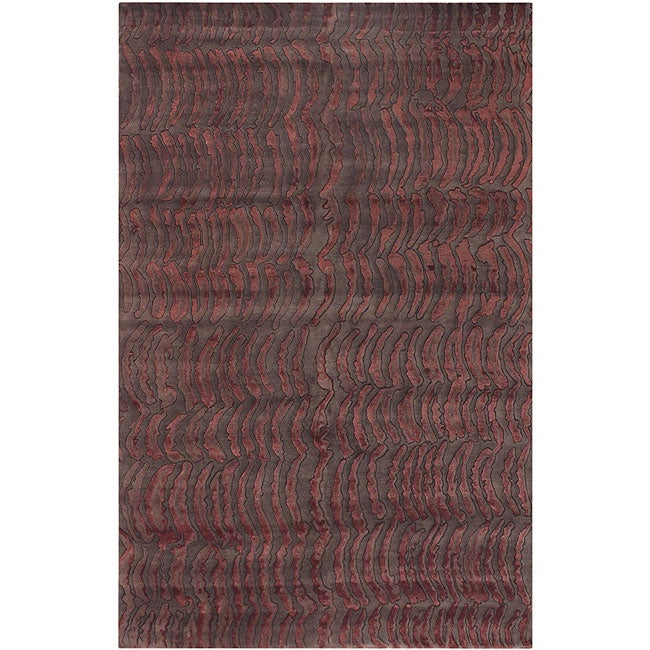 Hand-knotted Red Abstract Design Wool Rug (4' x 6')
