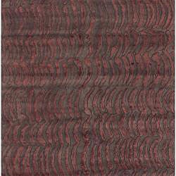 Hand-knotted Red Abstract Design Wool Rug (4' x 6') - Thumbnail 1
