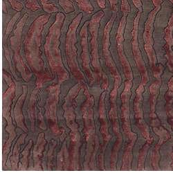 Hand-knotted Red Abstract Design Wool Rug (4' x 6') - Thumbnail 2