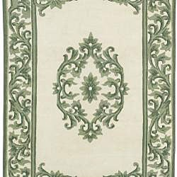Hand-knotted Green New Zealand Wool Rug (2'6 x 8')