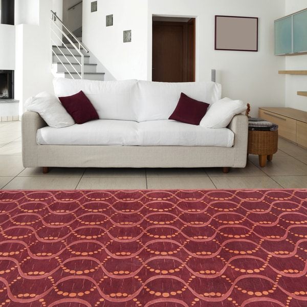 Hand-knotted Red Rust Contemporary Karur Wool Geometric Area Rug - 5' x 8'