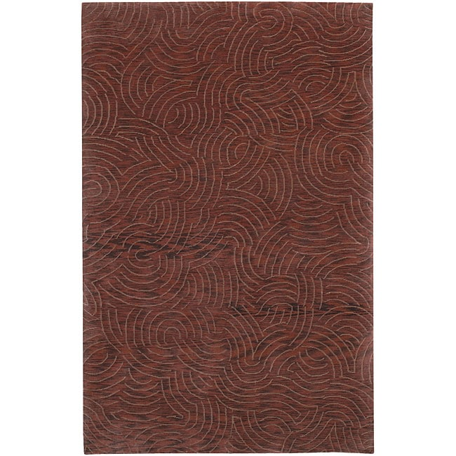 Hand-knotted Abstract Design Wool Area Rug (5' x 8') - 5' x 8'